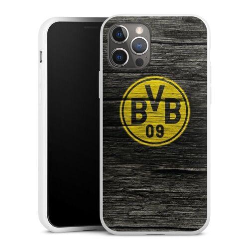 DeinDesign Handyhülle »BVB Holzoptik« Apple iPhone 12 Pro, Hülle Borussia Dortmund BVB Holzoptik, weiß