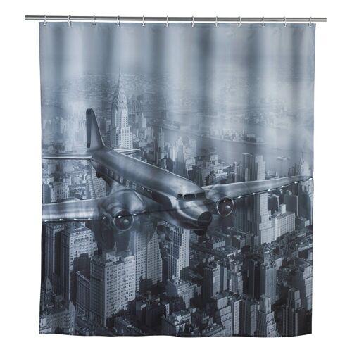 WENKO Duschvorhang Breite 180 cm, LED Badewannenvorhang 180x200 cm Old Plane Flugzeug Bad Dusche Vorhang schwarz weiß