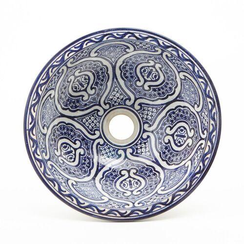 Casa Moro Waschbecken »Orientalisches Keramik-Waschbecken Fes70 blau-weiß handbemalt Ø 35 cm rund, Kunsthandwerk aus Marokko, Handwaschbecken für Bad Waschtisch Gäste-WC, WB35270«, Handmade