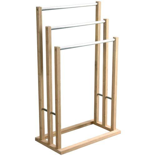 MSV Handtuchständer »Edelstahl und Bambus«, 3 Stangen, 48 x 26 x 84 cm