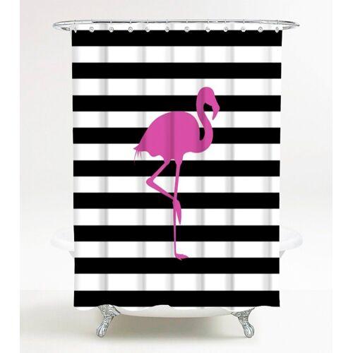 Sanilo Duschvorhang »Flamingo«, 180 x 200 cm, schwarz/weiß/pink