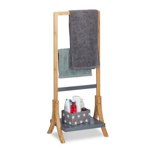 relaxdays Handtuchhalter »Handtuchhalter Bambus natur/grau«