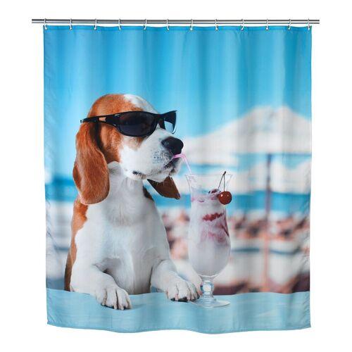 WENKO Duschvorhang breite 180 cm, Badewannenvorhang 180x200 cm Cool Dog Hund Bad Dusche Vorhang