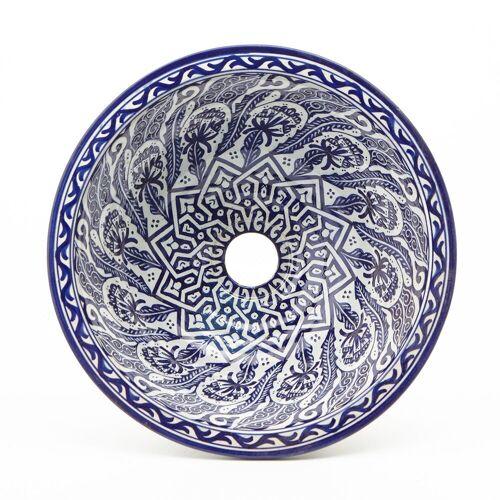 Casa Moro Waschbecken »Orientalisches Keramik-Waschbecken Fes80 Ø 35 cm blau weiß rund, Marokkanisches Handwaschbecken für Küche Badezimmer Gäste-Bad, Einfach schöner Wohnen, WB35280«, Handmade