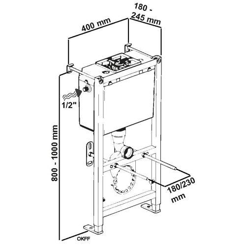 CORNAT Vorwandelement WC »400/800«, Nassbauelement