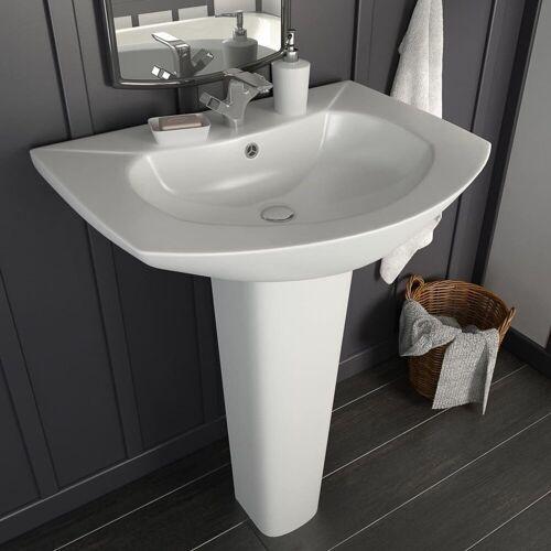 vidaXL Waschbecken »Freistehendes Waschbecken mit Säule Keramik Weiß 650x520x200 mm«