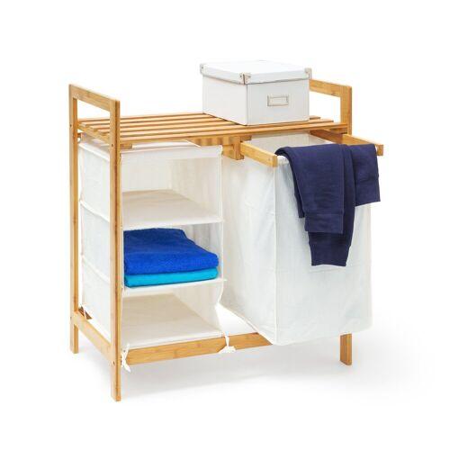 relaxdays Wäschekorb »Wäschesammler Bambus LINEA mit Regal«