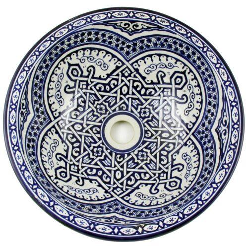 Casa Moro Waschbecken »Marokkanisches Keramik-Waschbecken Fes46 rund Ø 40 cm bunt Höhe 18 cm Handmade Waschschale, Orientalisches Handwaschbecken für Bad Waschtisch Gäste-WC, WB40256«, Handmade