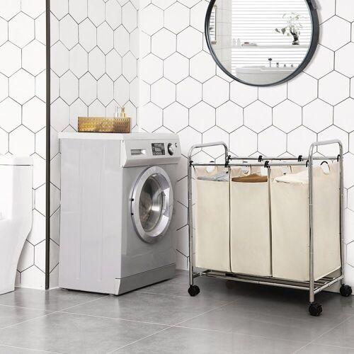 SONGMICS Wäschekorb »LSF003B LSF003S«, Wäschebehälter auf Rollen Beige, beige