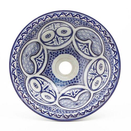 Casa Moro Waschbecken »Marokkaniches Keramik-Waschbecken Fes77 Ø 35 cm blau weiß rund, Aufsatzwaschbecken handbemalt Handwaschbecken für Badezimmer, Kunsthandwerk aus Marokko, WB35277«, Handmade