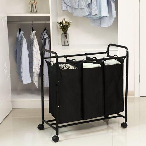 SONGMICS Wäschekorb »LSF003B LSF003S«, Wäschebehälter auf Rollen, Schwarz, schwarz