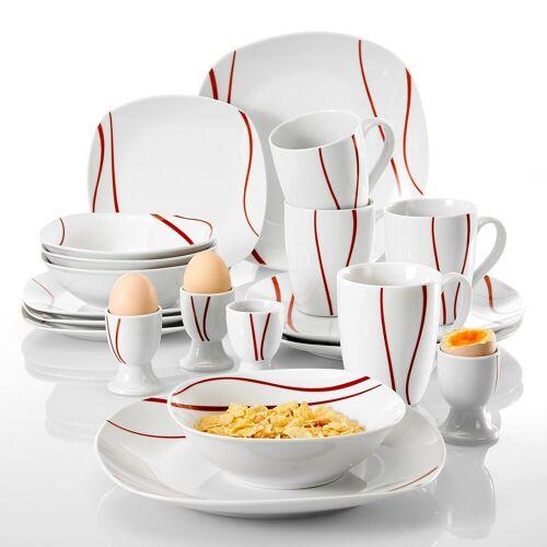 MALACASA Tafelservice »FELISA« (20-tlg), Porzellan, Geschirrset aus Porzellan mit rotes Streifen
