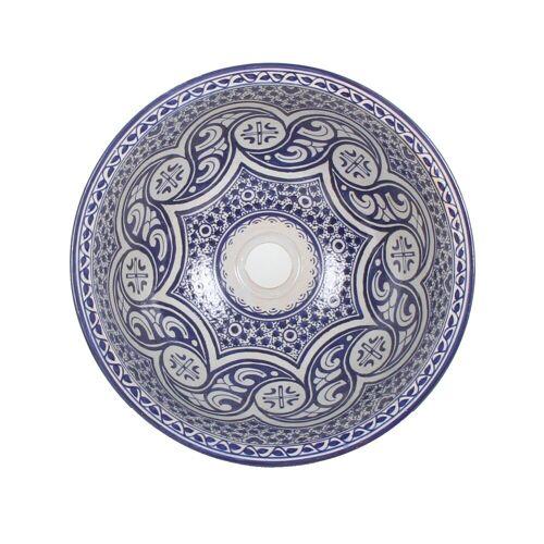 Casa Moro Waschbecken »Mediterrane Keramik-Waschbecken Fes97 rund Ø 40 cm bunt Höhe 18 cm Handmade Waschschale, Marokkanische Handwaschbecken Aufsatzwaschbecken für Bad Waschtisch Gäste-WC, WB40307«, Handmade