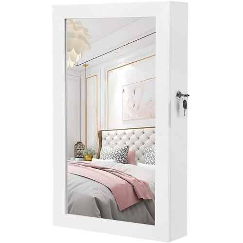 SONGMICS Schmuckschrank »JBC51W« Hängend Spiegelschrank, Wandspiegel, 67x37x10,5 cm, weiß