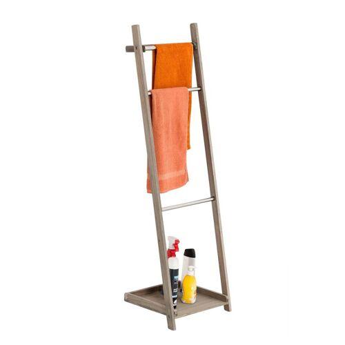 CLP Handtuchhalter »Handtuchhalter Kyoto«, naturbelassene Holzleiter, drei Stangen, platzsparend, klappbar, hellbraun