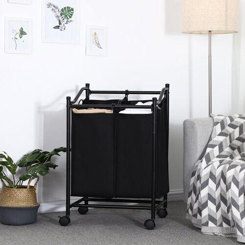 SONGMICS Wäschesortierer »LSF002BK«, Wäschesortierer mit Rollen und 2 Fächern, schwarz
