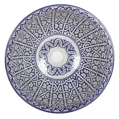 Casa Moro Waschbecken »Mediterrane Keramik-Waschbecken Fes96 rund Ø 40 cm bunt Höhe 18 cm, Marokkanische Handwaschbecken für Bad Waschtisch Gäste-WC, Kunsthandwerk aus Marokko, WB40306«, Handmade