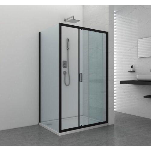 Sanotechnik Duschwand »Elite Black «, Fixglas mit Alu-Profil in Schwarz Matt, BxH: 90 x 195 cm, matt/schwarz