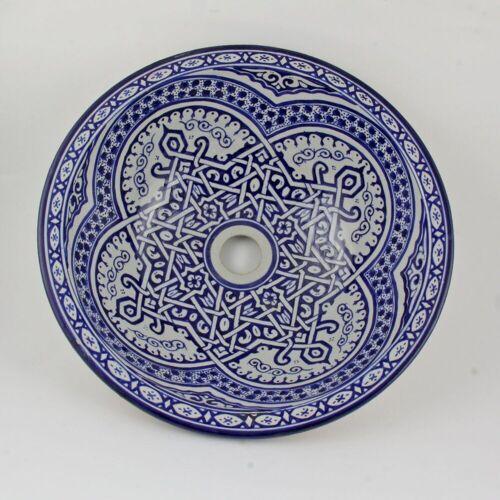 Casa Moro Waschbecken »Marokkanisches Keramik-Waschbecken Fes62 Ø 35 cm handbemalt, Marokkanisches Handwaschbecken für Küche Badezimmer Gäste-Bad, Einfach schöner Wohnen, WB35262«, Handmade