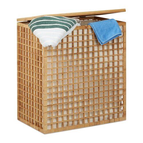 relaxdays Wäschekorb »Bambus Wäschesammler mit 2 Fächern«