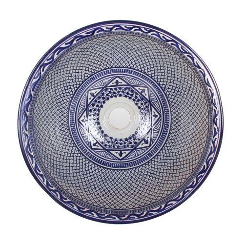 Casa Moro Waschbecken »Mediterranes Keramik-Waschbecken Fes106 rund Ø 40 cm bunt Höhe 18 cm, Marokkanisches Handwaschbecken Aufsatzwaschbecken für Bad Waschtisch Gäste-WC«, Handmade