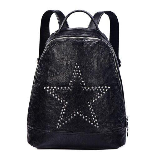 DonDon Cityrucksack »Rucksack«, Damenrucksack in Lederoptik und mit Nieten, schwarz Nieten Sterne