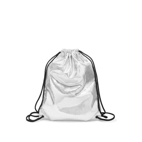 LASCANA Cityrucksack, Gym Bag aus glänzendem Material, silberfarben