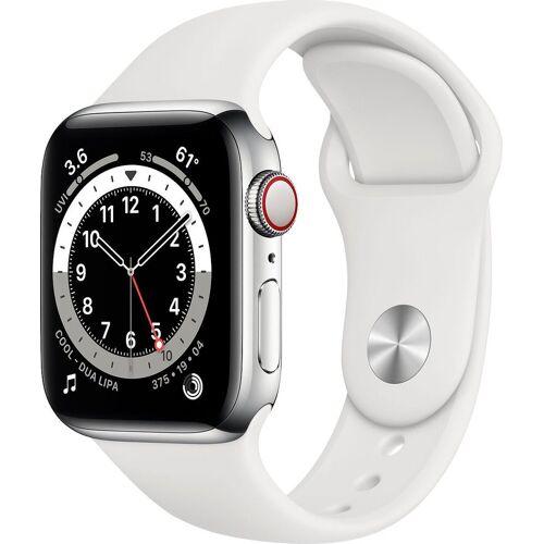 Apple Watch Series 6 Smartwatch (Watch OS), inkl. Ladestation (magnetisches Ladekabel), Weiß   Silber/Weiß