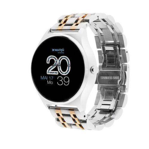 X-Watch JOLI XW PRO Smartwatch, 54059 Shiny Silver, Damen Smartwatch mit Puls und Blutdruckmessung, silber/gold   Silber