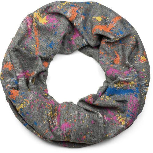 styleBREAKER Loop »Loop mit Farbklecksen im Used Look« Loop mit Farbklecksen im Used Look, Grau-Weiß