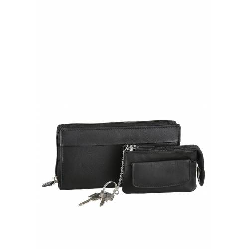 J.Jayz Geldbörse (Set, 2-tlg., mit Schlüsselanhänger), im 2-teiligen Set mit Schlüsselmäppchen aus Leder, schwarz