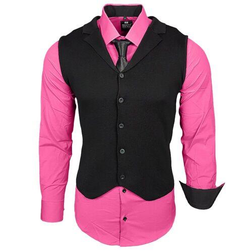 Rusty Neal Hemdenset mit Weste und Krawatte, Pink