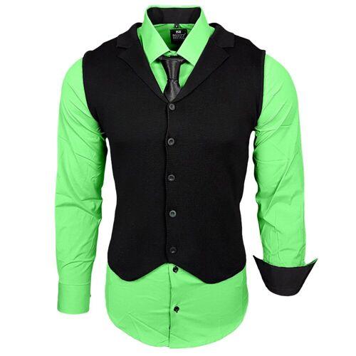 Rusty Neal Hemdenset mit Weste und Krawatte, Grün