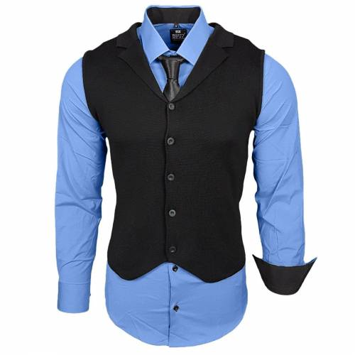 Rusty Neal Hemdenset mit Weste und Krawatte, Blau