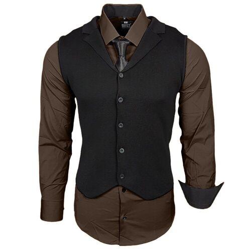 Rusty Neal Hemdenset mit Weste und Krawatte, Braun