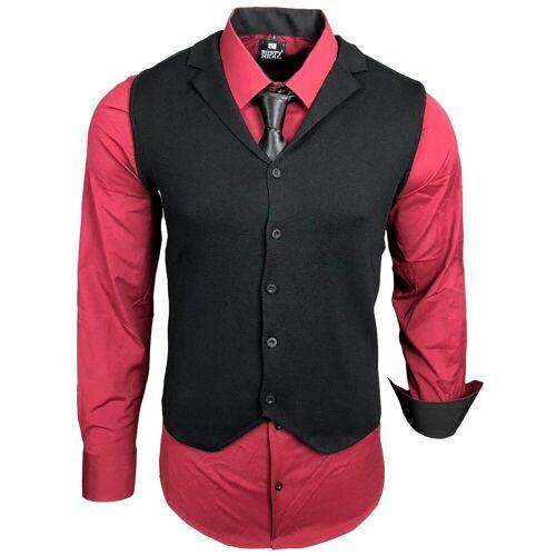 Rusty Neal Hemdenset mit Weste und Krawatte, Bordo