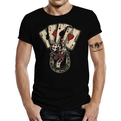 LOBO NEGRO® T-Shirt »Poker Dices Zocker«, Schwarz