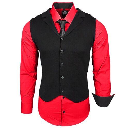 Rusty Neal Hemdenset mit Weste und Krawatte, Rot