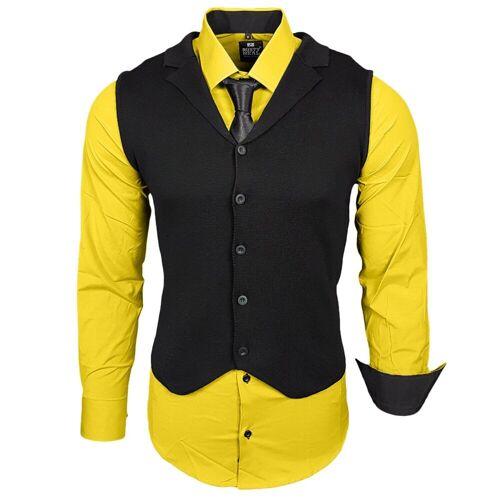 Rusty Neal Hemdenset mit Weste und Krawatte, Gelb