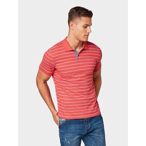 TOM TAILOR Poloshirt »Gestreiftes Poloshirt«, red