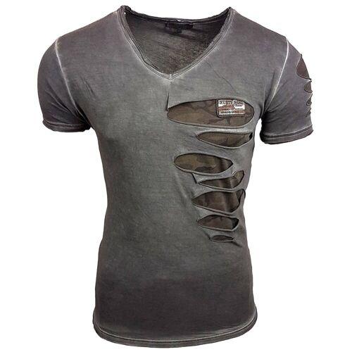 Rusty Neal T-Shirt in ausgefallenem Design, Grau