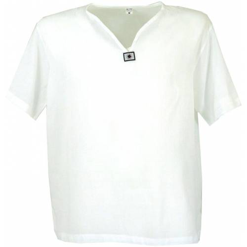 Guru-Shop Hemd & Shirt »Yoga Hemd, Goa Hemd, Kurzarm, Männerhemd,..«, weiß