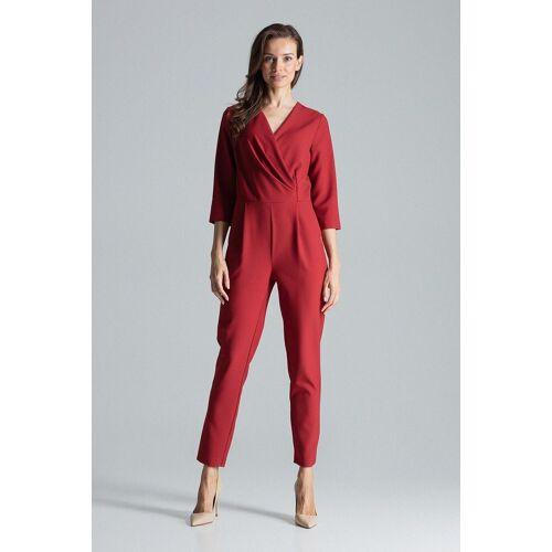 FIGL Jumpsuit im eleganten Wickeldesign »M672«, Deep Red