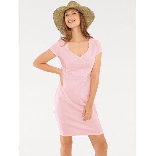 heine CASUAL Shirtkleid mit Raffung am Ausschnitt, rosé