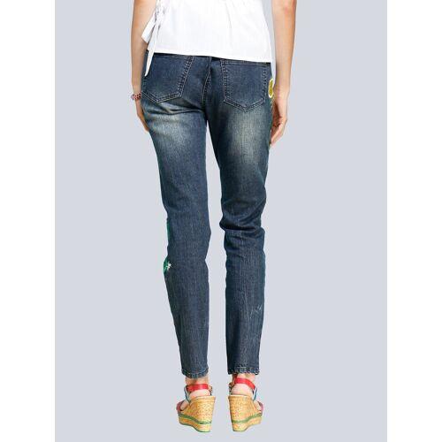 Alba Moda Skinny-Jeans mit Stickereien mit Zitronenmotiv, Blau