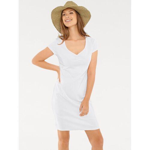 heine CASUAL Shirtkleid mit Raffung am Ausschnitt, weiß