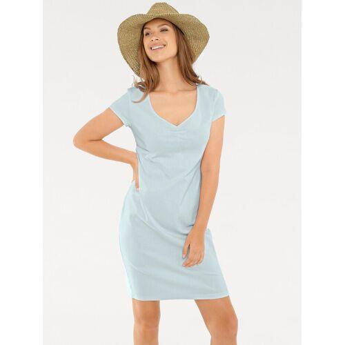 heine CASUAL Shirtkleid mit Raffung am Ausschnitt, bleu