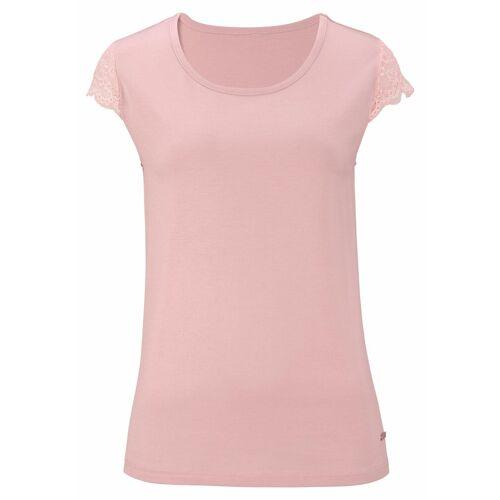 LASCANA T-Shirt mit Spitzenärmeln, rosa