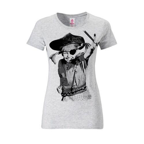 LOGOSHIRT T-Shirt mit Pippi Langstrumpf-Frontprint »Pippi Langstrumpf - Pirat«, grau-meliert