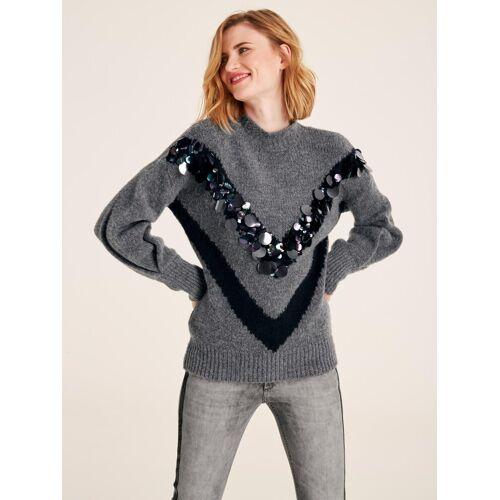 heine CASUAL Pullover mit Pailetten, grau